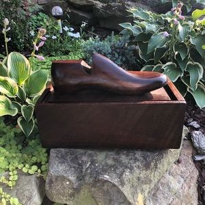 Solid Wood Shoe Shine Box with Wooden Shoe Form